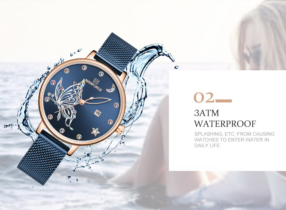 H775ec30eaab54ab39dc59825d3d98866x - NAVIFORCE Luxury Brand Watch Women Fashion Dress Quartz Ladies Mesh Stainless Steel 3ATM Waterproof Casual Watches for Girl