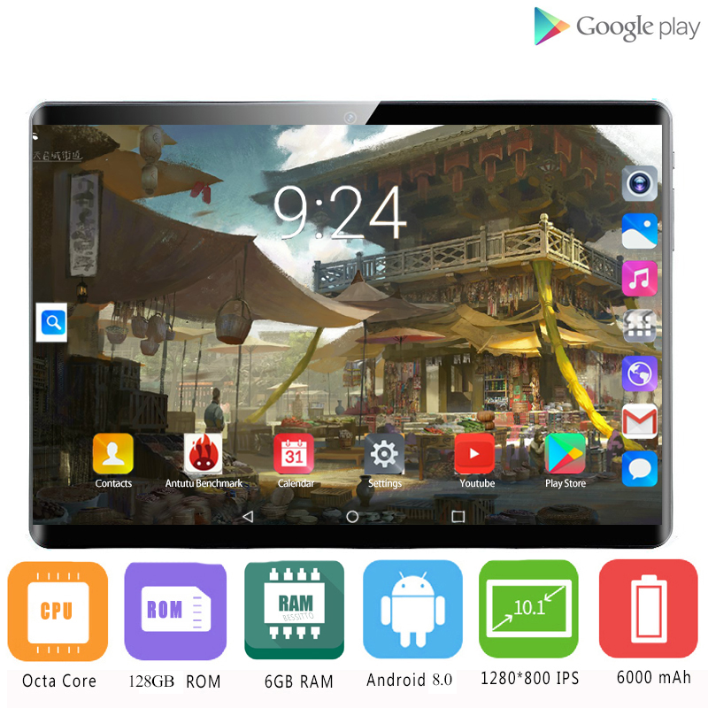 2020 MT8752 10.1 Inch Tablets Android 8.0 8 Core 6GB+128GB ROM Dual Camera 5MP SIM Tablet PC Wifi Mirco Usb GPS Bluetooth Phone
