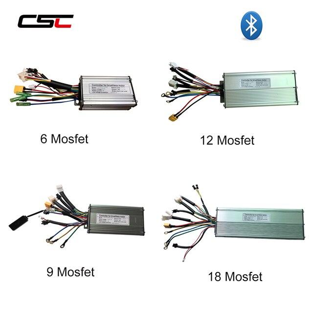 ebike Controller 6 9 12 18 Mosfet 36V 48v e Bike Controller Sine Wave/ Dual Mode Brushless KT Electric Controller