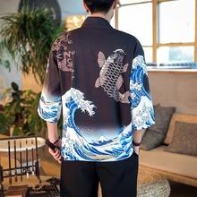 Kimono man japońskie kimono cardigan mężczyźni yukata haori samuraj kostium odzież japoński mężczyzna męska kimono odzież kurtka 10962 tanie tanio Tangslady Poliester Odzież azji i pacyfiku wyspy Trzy czwarte Tradycyjny odzieży