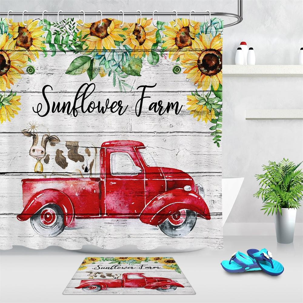 retro red truck cow shower curtain waterproof polyester fabric bathroom decoration sunflower shower curtain with 12 hooks