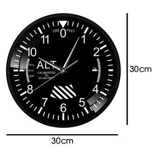 Image 2 - Hava uçak irtifa ölçüm Rrint Duvar Saati siyah Metal çerçeve altimetre yuvarlak Duvar sanat dekoru Timepiece saat Duvar Saati