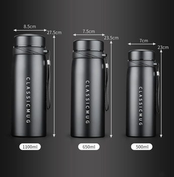1100m/500ml Portable Double Stainless Steel Vacuum Flask Coffee Tea Thermos Mug Sport Travel Mug Large Capacity Thermocup