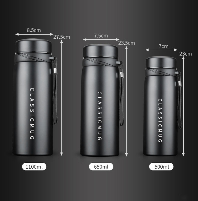 1100m/500ml Portable Double Stainless Steel Vacuum Flask Coffee Tea Thermos Mug Sport Travel Mug Large Capacity Thermocup 2