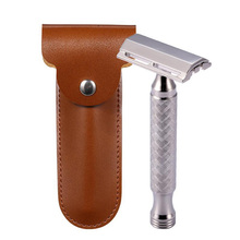 Men Shaving CNC 316 L Stainless Steel Double Edge Safety Razor with PU Case