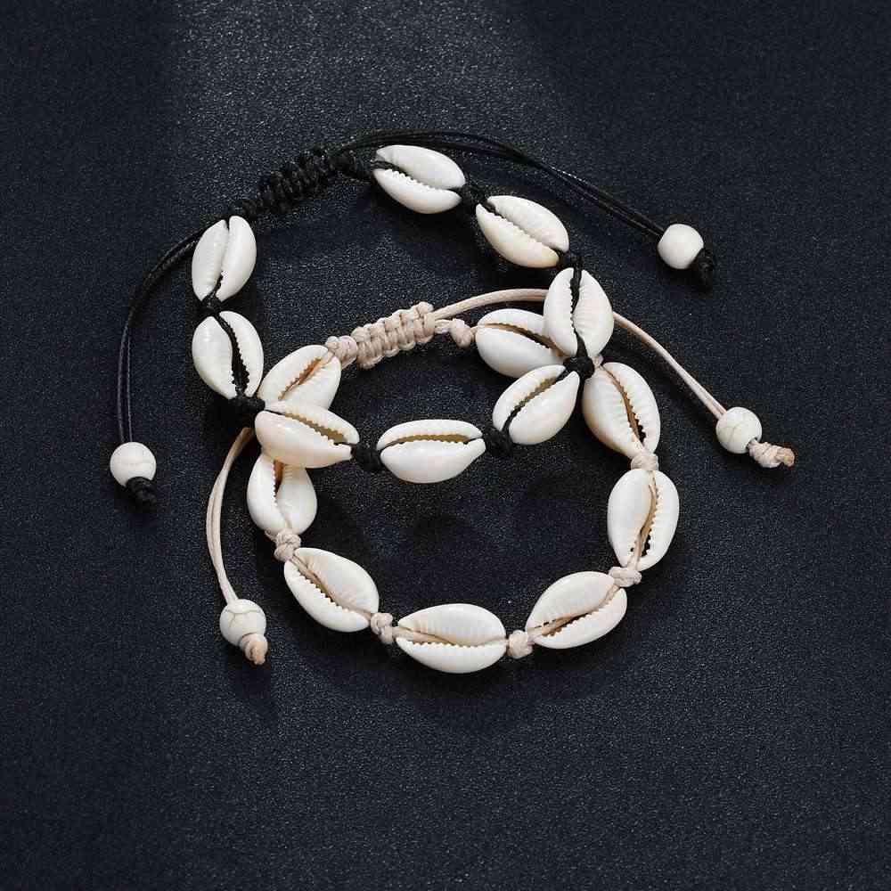 البوهيمي اليدوية قذيفة أساور للنساء حبل قابل للتعديل الصداقة أساور صدف مطرز ستراند سوار الشاطئ المجوهرات