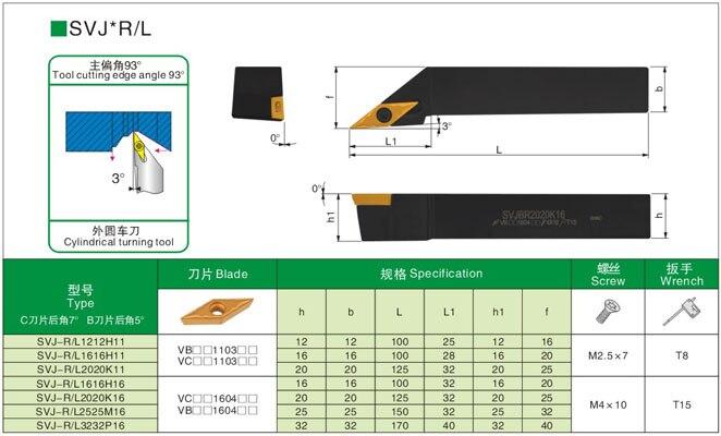 Купить с кэшбэком SVJCR1616H16 SVJCR2020K16 SVJCR2525M16 External Turning Tool Holder +carbide inserts VCMT160404 VCMT160408 Metal lathe tool