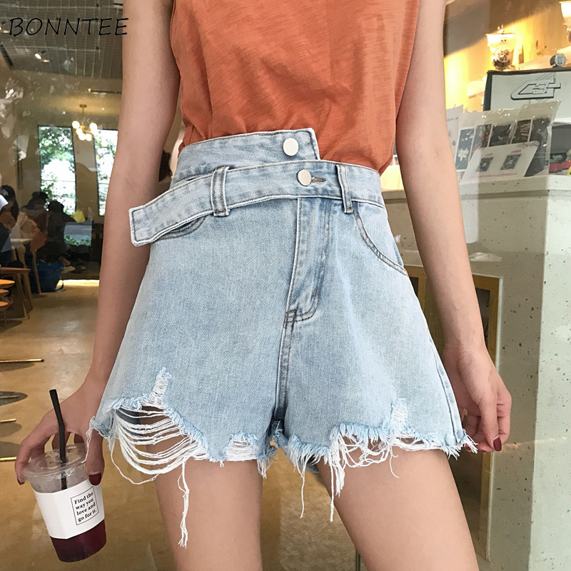 Shorts Women Simple Summer High Quality Trendy Irregular Short Womens Wide Leg Loose Denim Pockets Korean Female Elegant Fashion