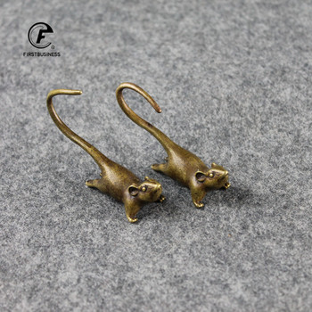2020 New Style Brass Long Tail Zodiac Mouse Statue Ornaments Cute Rat Miniatures Figurines Desk Paperweight Decorations Tea Pets