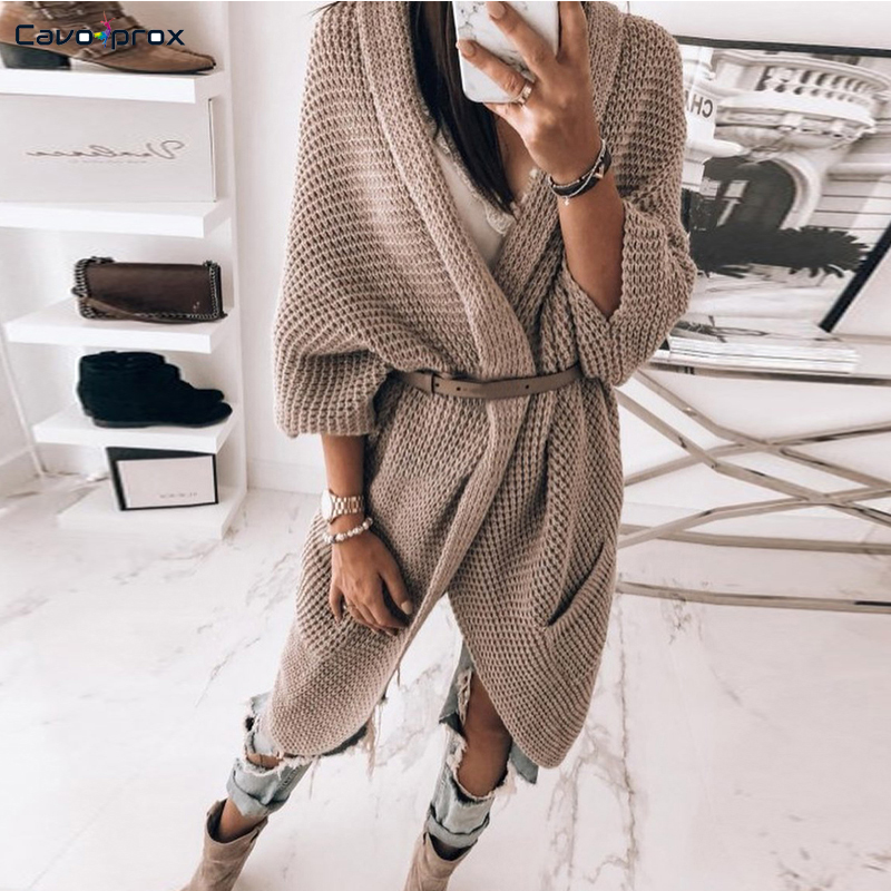 WOMEN Solid Pointelle Open Front Pocket Design Longline Cardigan Spring Autumn Casual Solid Sweater
