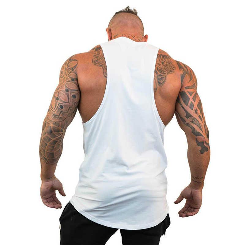 2019 جديد العلامة التجارية الأزياء الرجال رياضة العضلات كمال الاجسام قميص بدون أكمام العضلات تانك الأعلى القميص اللياقة البدنية الرياضة طباعة صدرية تدريب