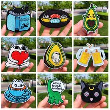 Prajna Embroidered Patches For Clothing Iron on Patch Cartoon Black Cat Applique Stripe Dinosaur Cute Parches Garment Accessory