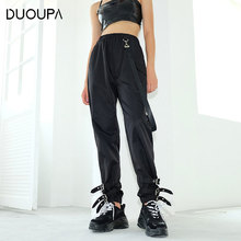 DUOUPA 2019 New Net Red Casual Trend Overalls Women Street Tooling Wind Trousers Straight Loose Fashion Dance Pants Femal
