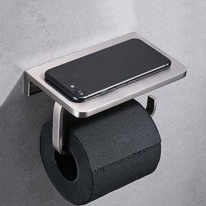 Image 2 - Suporte de papel higiênico para banheiro, suporte de parede com prateleira para telefone celular, níquel escovado