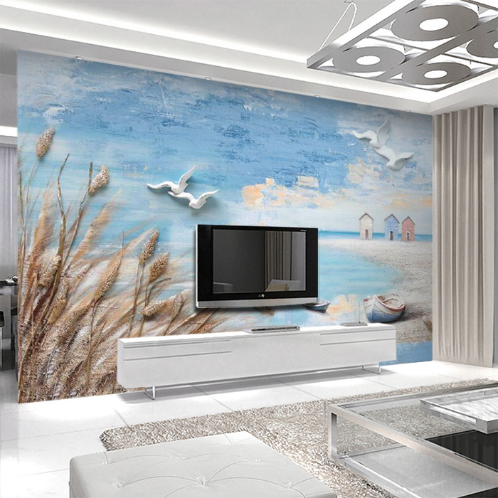 Northern European-Style Modern Minimalist Elegant New Chinese Style Relief Mediterranean Wallpaper Mural Wall