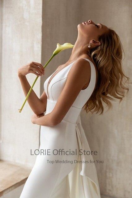 LORIE Elegant Mermaid Wedding Dresses with Detachable Train Bow White Ivory Boho Wedding Bridal Gown V-Neck abito da sposa 3