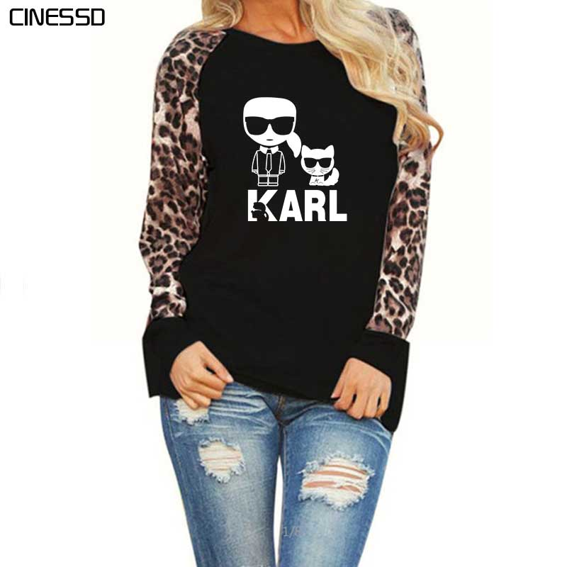 Plus Size White T Shirts Womens Karl Lagerfeld Printed White Long Sleeve Tops Loose Vintage Leopard Chiffon Tee Shirt Femme 2019
