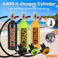 SMACO S400 1L Scuba Oxygen Cylinder Under Water Breathing 20min Air Tank First Level Pressure Reducing Valve Second Level