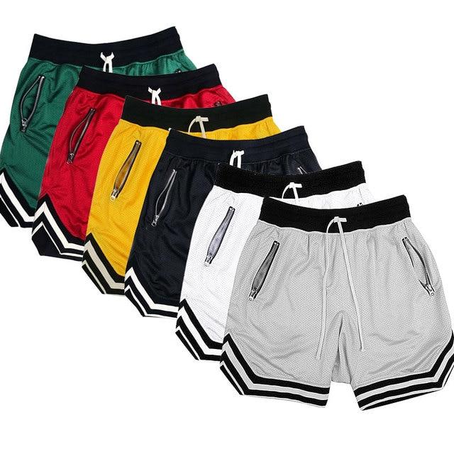 Streetwear Vintage Mesh Baggy Shorts Men's Justin Bieber Side Zipper Elastic Waist Loose Knee Length Sweatpants six Colors 1