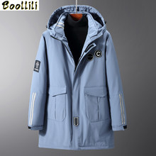 2020 Mens Winter Jacket 4XL-10XL Thick Warm Hooded Parkas Simple Long Hem Practical Windproof Coat and Jacket Large Size Outwear(China)