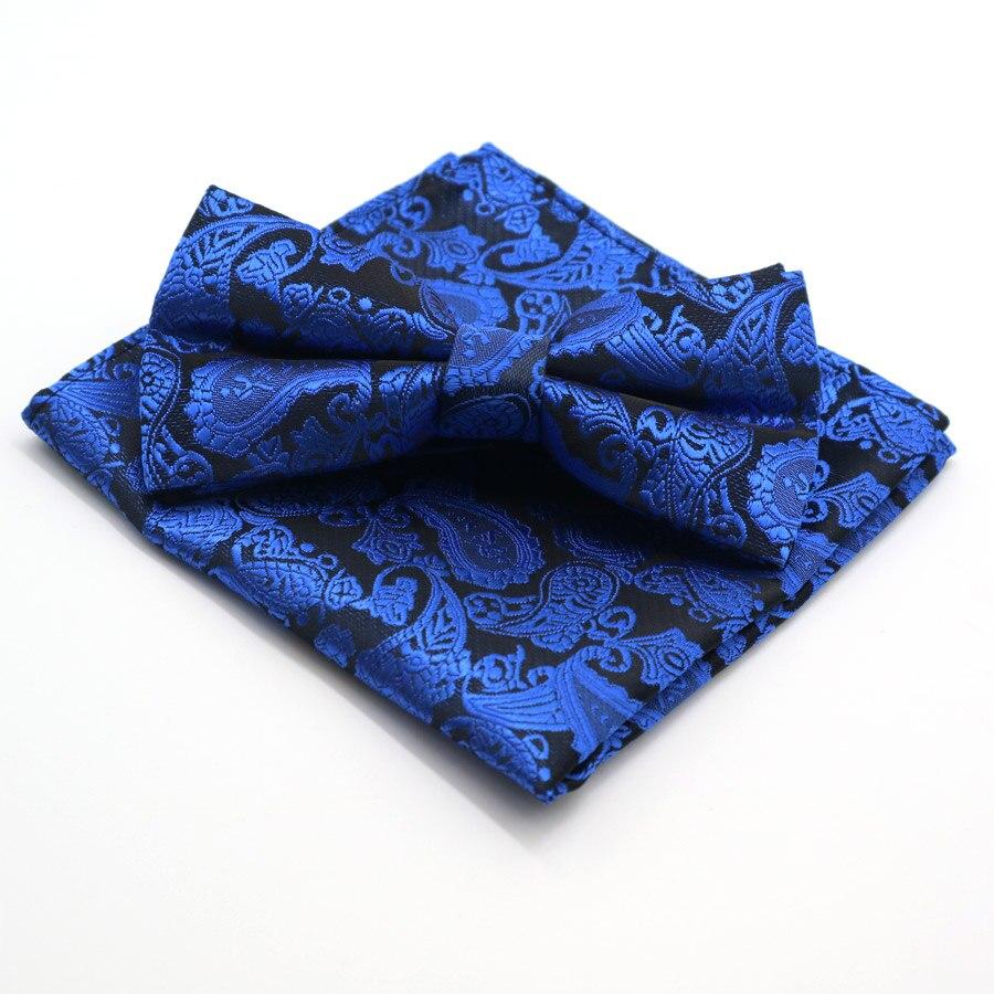 YISHLINE Men's Bows Tie Set Floral Polka Dot Pocket Square Adjustable Handkerchief Bowtie Sets Wedding Party Necktie Hanky