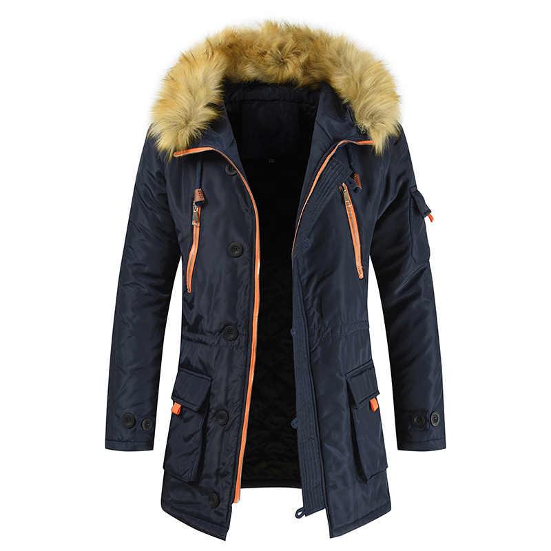 בתוספת גודל S-8XL חדש חורף מעיל גברים לעבות חם מעיילים מקרית ארוך להאריך ימים יותר ברדס צווארון ומעילים Mens Veste homme