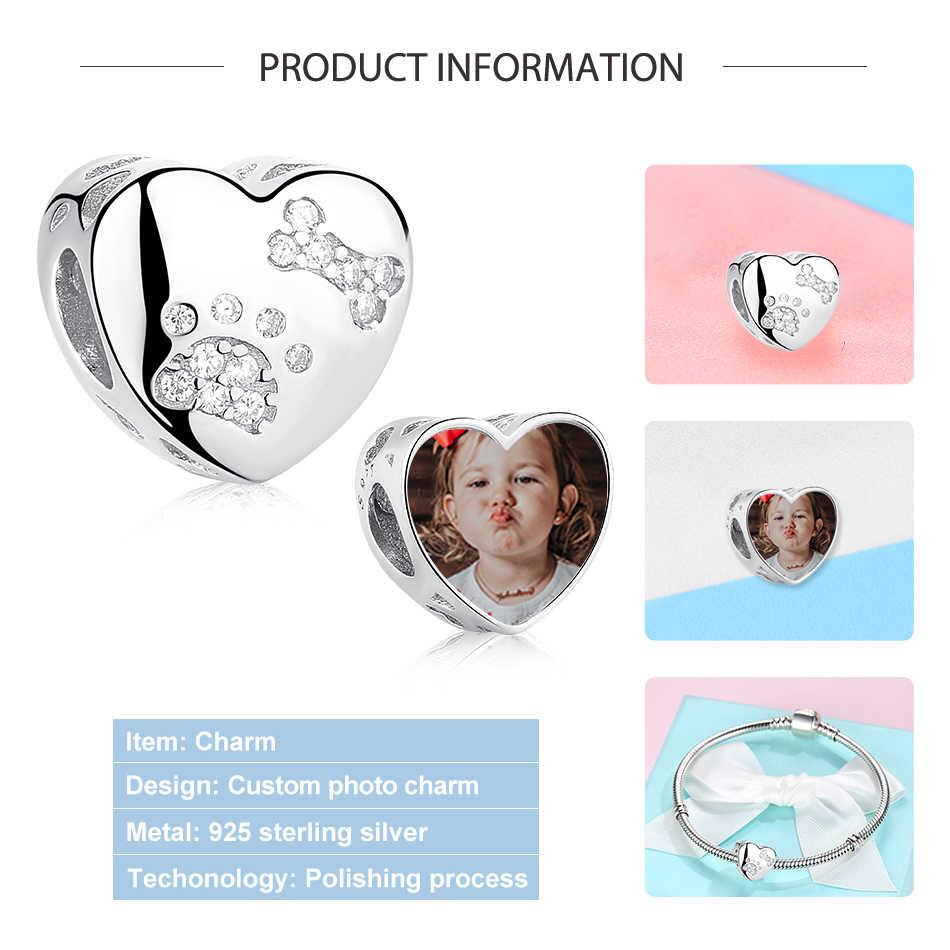 Eleshe 925 prata esterlina animal de estimação pata impressão coração personalizado foto encantos contas caber pandora pulseira colar diy jóias personalizadas