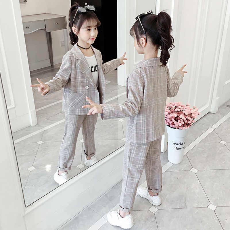 Adolescente Vestiti Per Ragazze Set 2020 Ragazze di autunno Abiti Plaid Giubbotti Scuola Pantaloni Tuta Vestiti Delle Ragazze Vestiti Dei Bambini 8 10 anni