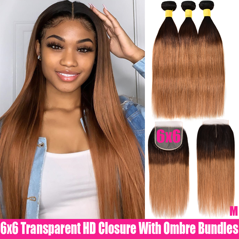 Ombre Peruvian Straight Hair 3 Bundles With Closure Transparent HD Closure With Remy Human Hair Bundles 6x6 Closure AndBundles