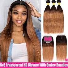Ombre Peruvian Straight Hair 3 Bundles With Closure Transparent HD Closure With Remy Human Hair Bundles 6×6 Closure AndBundles