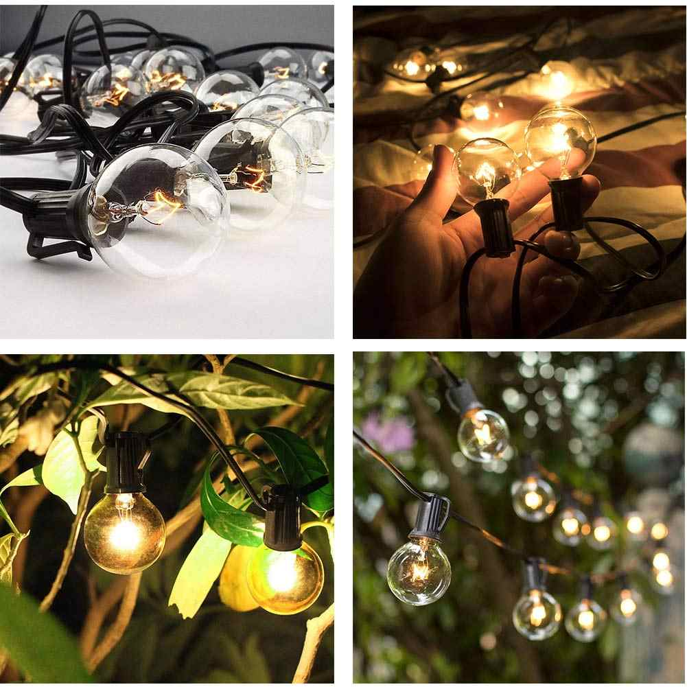 Christmas Patio String Light 25ft Fairy Globe Festoon Bulb Garden Garland Decor