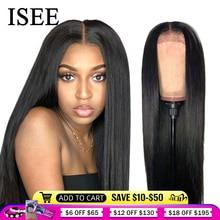 ISEE الشعر مستقيم الدانتيل الجبهة الباروكات للنساء الماليزي 150% الكثافة 360 الدانتيل الباروكة أمامي مستقيم الدانتيل الجبهة خصلات الشعر المستعار الإنسان