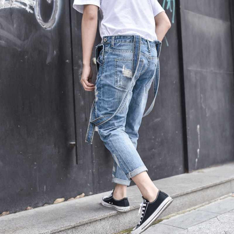 Harajuku Big Boy Slim Fit Hole kombinezony jednoczęściowy mężczyzna zgrywanie dżinsy cargo Retro sprane dżinsy kombinezony kieszenie Hombre spodnie
