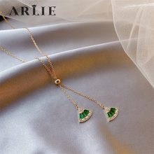 ARLIE Fashion Charm Green Zircon Crystal Fan-shaped Geometric Necklace For Women Elegant Party Ladies Pendant Necklace Jewelry