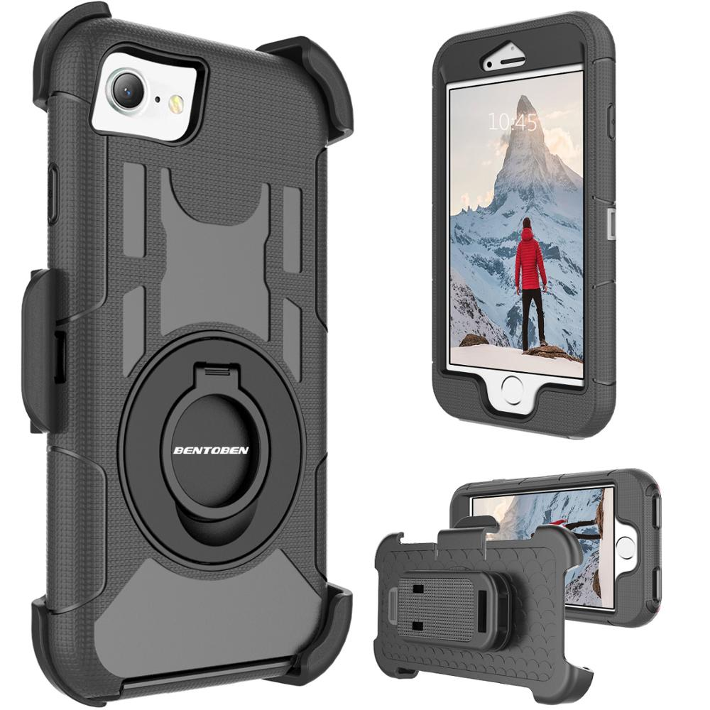 Case For Iphone SE 2020 Iphone 7 8 Heavy Duty Protection Full Body Hybrid Hard Phone Cases Kickstand Ring Belt Cover