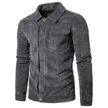 Hot Sale Mens Slim Fit Single Breasted Casual Short Jackets Male Turn Down Collar Coats Multi Pockets Corduroy Gray Brown M-2XL(China)
