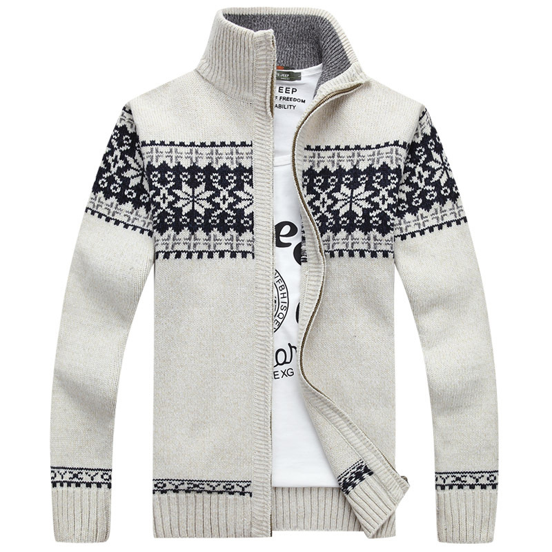 2020 Winter Men Slim Stand Collar Sweater Coat Jacquard Wool Knitted Cardigan Full Zip Casual Warm Male Clothing for Autumn