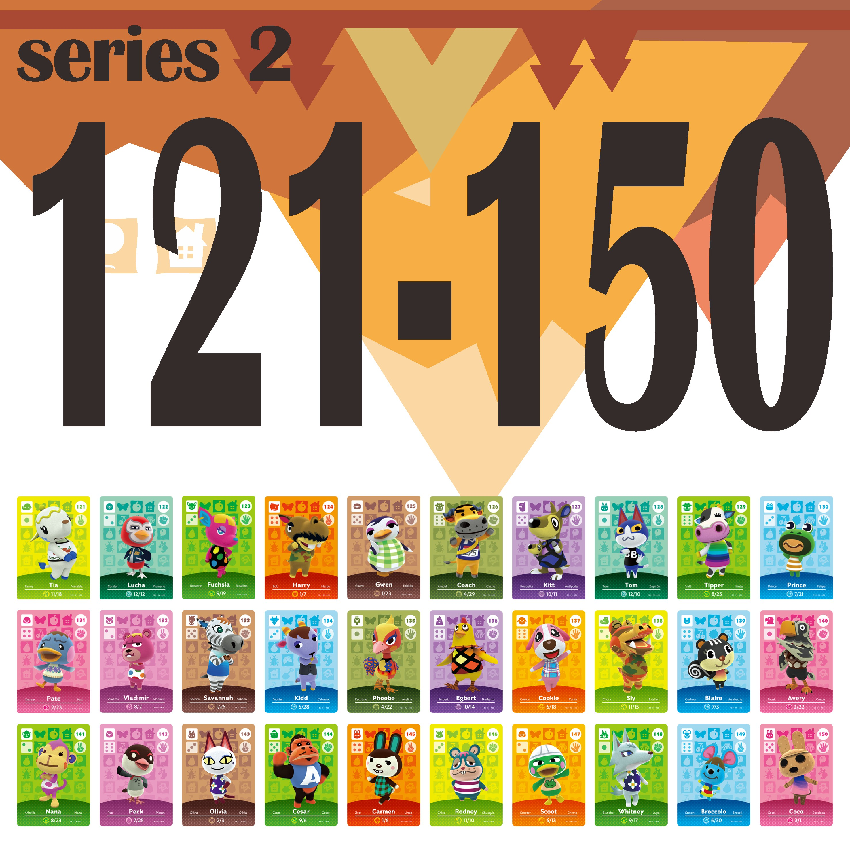 Animal Crossing Card Amiibo Card Work for NS Games Amibo Switch Welcome Stickers New Rosie NFC Series 2 (121 to 150) 1