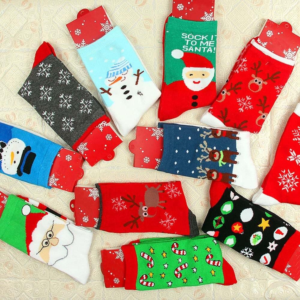 Christmas Socks Unisex Women Cartoon Cute Santa Claus Snowman Snowflake Winter Adult Hosiery Cotton Personality Socks 102#3