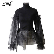 [EWQ] 2019 New Spring High Collar Long Puff Sleeve Black Organza Split Joint Irregular Knitting Sweater Women Fashion Tide JL828