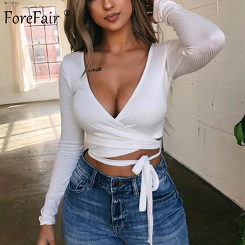 Forefair V Neck Long Sleeve Shirt Women Autumn 2018 Lace Up Wrap Sexy Shirt Ribbed Winter Tops Women