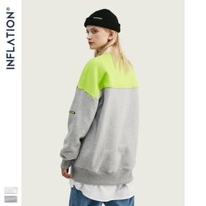 Image 5 - Inflação moletom homem contraste cor bloco tripulação pescoço moletom oversized ajuste algodão masculino sueter 9639 w