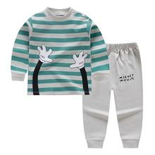 Новые хлопковые детские пижамные комплекты теплая одежда для маленьких мальчиков и девочек детская одежда для сна с героями мультфильмов топы с длинными рукавами+ штаны, 2 предмета