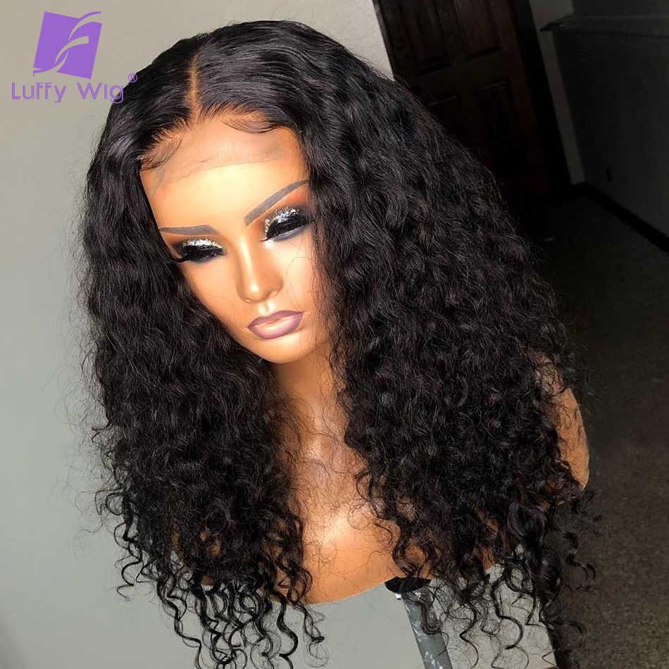 5x4,5 шёлковые человеческие волосы парики предварительно 13x6 Remy вьющиеся Синтетические волосы на кружеве парик с детскими волосами глубокие части 150% LUFFY