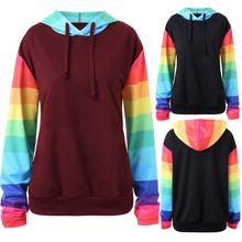 Womens Tops Sweatshirt Rainbow Color Block Stripes Hoodies Pullover Long Sleeve Drawstring Sweatshirt Top Student color block panel drawstring pullover hoodie
