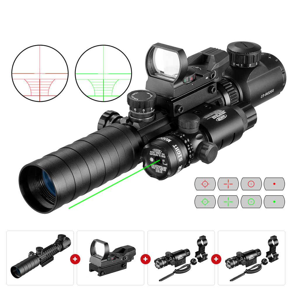 3-9X32EGC Taktis Optik Merah Hijau Illuminated Riflescope Hologram Refleks 4 Reticle Merah Hijau Dot Combo Berburu Lingkup