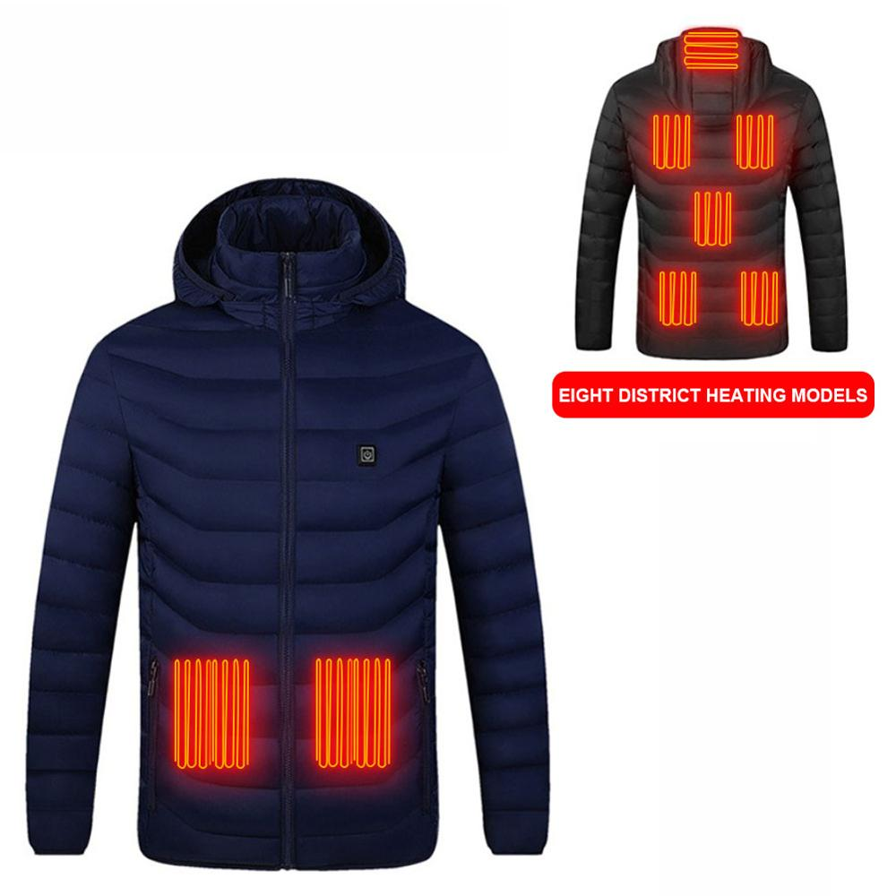 Мужские женские 8 зон с подогревом куртки жилет двойной контроль пух хлопок открытый электрический обогрев с капюшоном куртки теплый зимний термо пальто