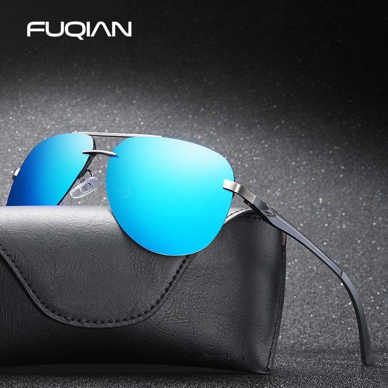 FUQIAN 2020 Fashion Rimless Pilot Polarized Sunglasses Men High Quality Aluminum Magnesium Sun Glasses Women Driving Shades