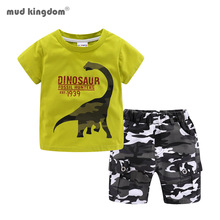 Mudkingdom Summer Boys Outfits Dinosaur T-Shirt and Chino Camo Short Set Toddler Boys Clothes Set Children Clothing
