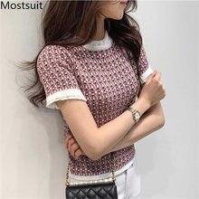 2020 verão coreano do vintage elegante de malha t-shirts das mulheres de manga curta o pescoço da forma das senhoras magro t camisas topos femme